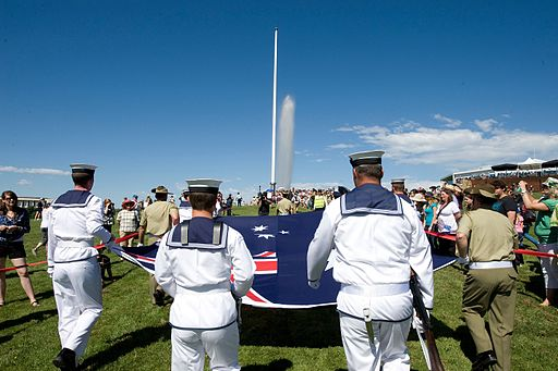 Photograph of the Flag raising ceremony - Australia Day 2011